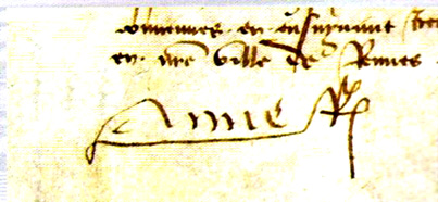 Signature d'Anne de Bretagne