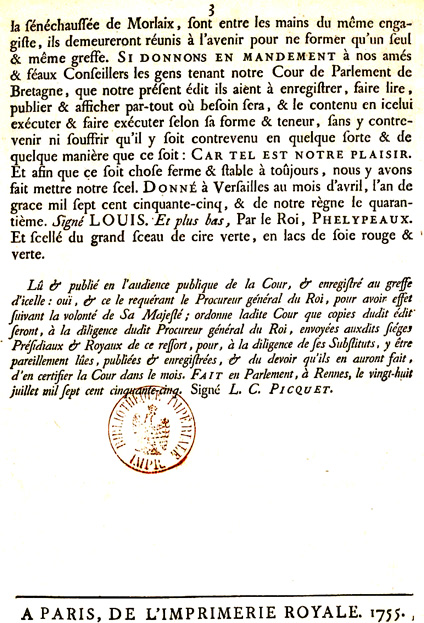 Suppression en 1755 de la juridiction de Lanmeur